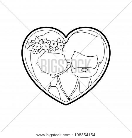 sketch silhouette heart shape with caricature faceless couple man and woman with flower crown in hair inside holding hands vector illustration