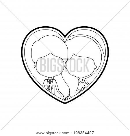 sketch silhouette heart shape with caricature faceless newly married couple young groom with formal wear and bride with wavy long hairstyle and holdings hands vector illustration