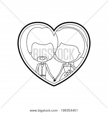 sketch silhouette heart shape with caricature faceless newly married couple young groom with formal wear and bride with side ponytail hairstyle and holdings hands vector illustration