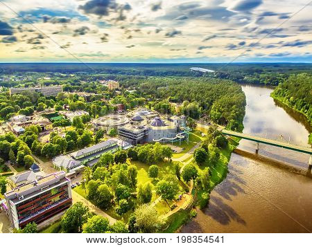 Lithuania, Baltic States: aerial UAV view of Druskininkai, a spa town on the Nemunas river in the summer