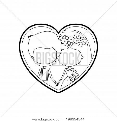 sketch silhouette heart shape with caricature faceless newly married couple bearded groom with formal wear and bride with straight short hairstyle and holdings hands vector illustration