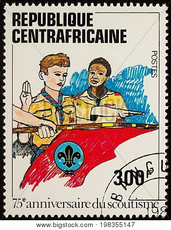 Moscow Russia - August 04 2017: A stamp printed in Central African Republic shows Boy Scouts series