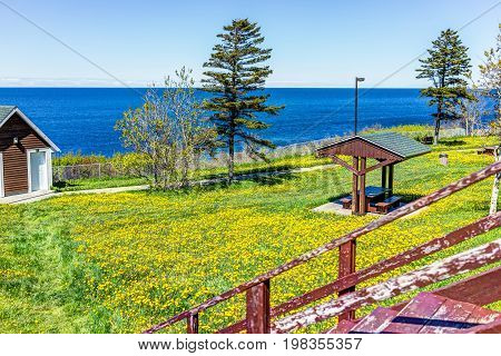 View of Saint Lawrence river with rest area in the Gaspe Peninsula Quebec Canada Gaspesie region