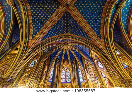 PARIS FRANCE - May 8 2016: Beautiful interior of the Sainte-Chapelle (Holy Chapel) a royal medieval Gothic chapel in Paris France.