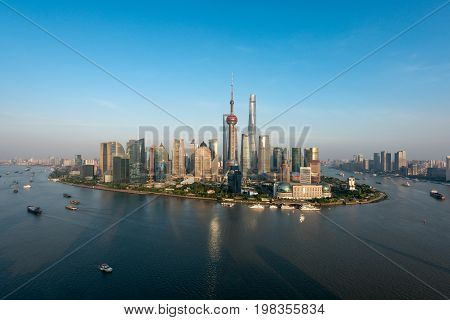 Shanghai skyline city scape Shanghai luajiazui finance and business district trade zone skyline Shanghai China