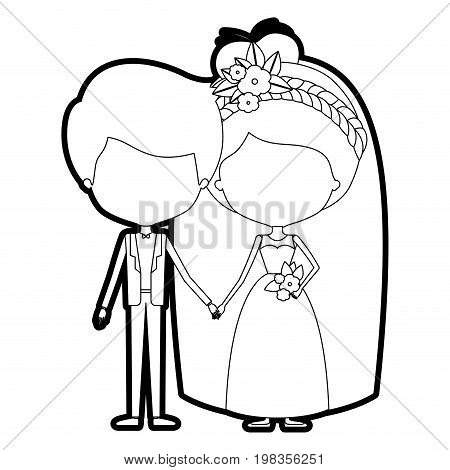 sketch silhouette of caricature faceless newly married couple groom with formal wear and bride with collected hairstyle vector illustration