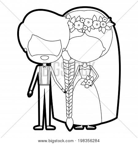 sketch silhouette of caricature faceless newly married couple groom with formal wear and bride with braids hairstyle vector illustration