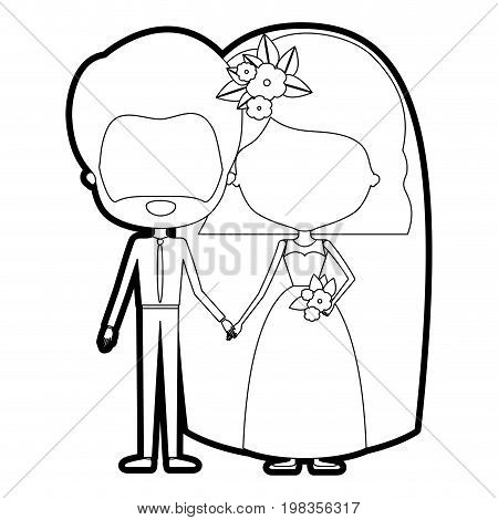 sketch silhouette of caricature faceless newly married couple groom with formal wear and bride with wavy short hairstyle vector illustration