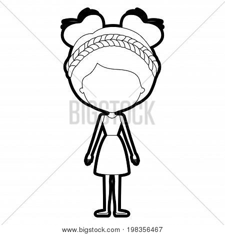sketch silhouette of caricature skinny faceless woman in dress with double bun hairstyle and braid vector illustration