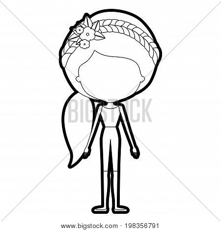 sketch silhouette of caricature skinny faceless woman in clothes with side ponytail hairstyle and flower crown accesory vector illustration