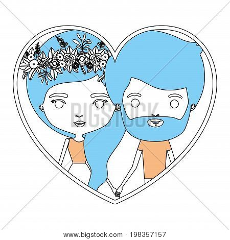 color section silhouette of heart shape with caricature couple man and woman with flower crown in hair inside holding hands vector illustration