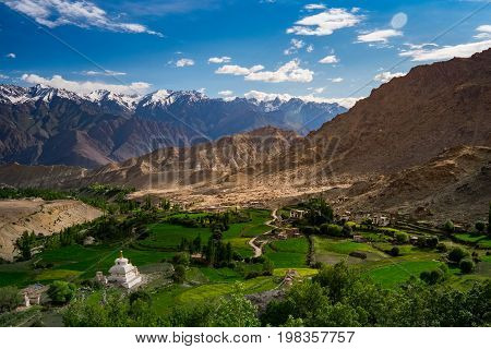 Landscape around Likir Monastery in Ladakh, India