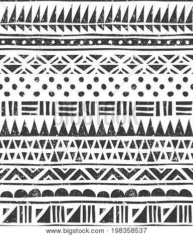 Seamless tribal pattern. Abstract block print. EPS 10 vector illustration.
