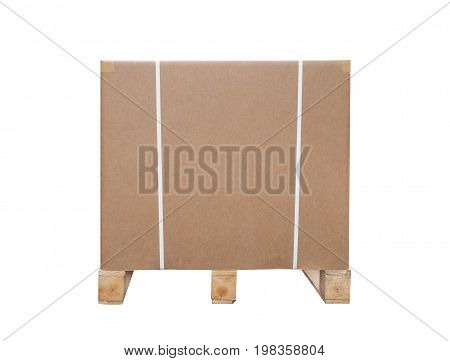 Cardboard boxes on a pallet. Isolated on white background. Large box for export goods