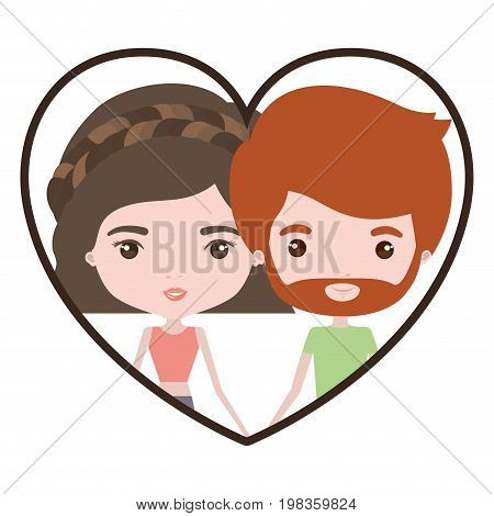 colorful heart shape portrait with caricature couple of him with short red hair and beard and her with pants and wavy short hairstyle vector illustration