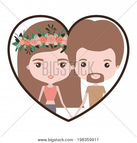 colorful heart shape portrait with caricature couple and both with brown hair and her with medium straight hair and floral crown accesory and him with van dyke beard vector illustration