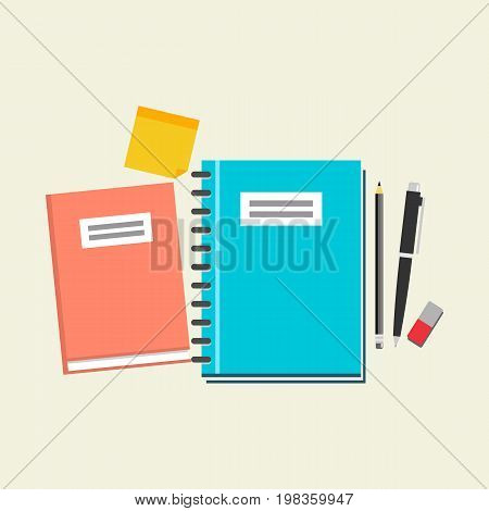 Study equipment icon. Textbook, pen, eraser, pencil and reminder icon. Education supplies