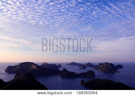 Panorama view with purple sunset sky at Ang thong archipelago islandThailand.