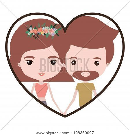 colorful heart shape portrait with caricature couple and both with light brown hair and her with short hair and floral crown and him with van dyke beard vector illustration