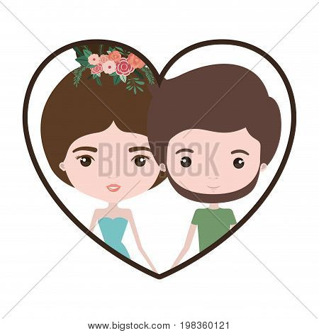 colorful heart shape portrait with caricature couple and both with brown hair and her in dress with collected hair and floral crown and him bearded vector illustration