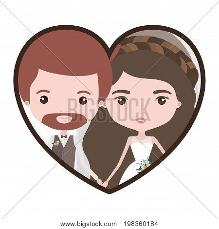 colorful heart shape portrait with caricature newly married couple groom with formal wear and bride with wavy long hairstyle vector illustration