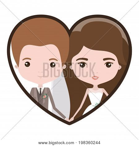 colorful heart shape portrait with caricature newly married couple groom with formal wear and bride with long hairstyle vector illustration