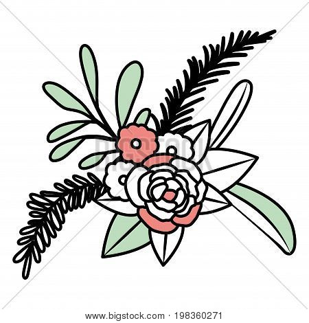 color sections silhouette of floral ornament with several flowers and branches vector illustration