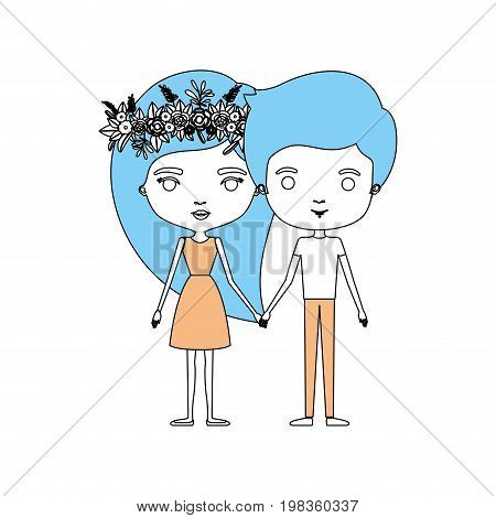 color sections silhouette of couple standing caricature her in dress with long straight hair with floral crown and him in casual clothes vector illustration