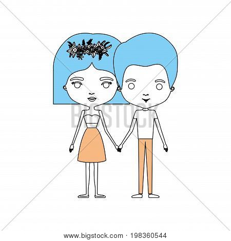 color sections silhouette caricature thin couple of man and woman in dress with flower crown in hair and holding hands vector illustration