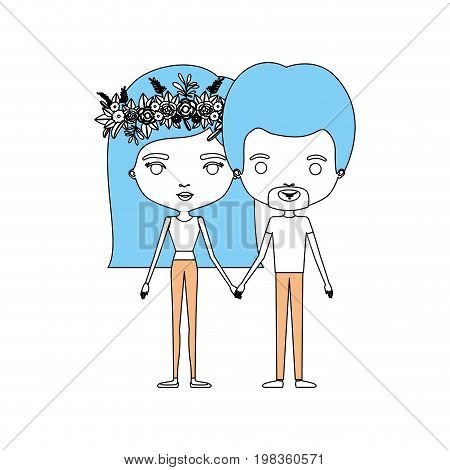 color sections silhouette caricature thin couple in clothes man and woman with flower crown in hair and holding hands vector illustration