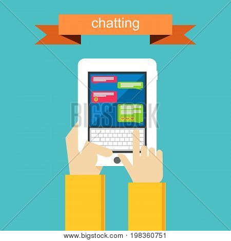 Online communication. Social networking. Concept of chatting.
