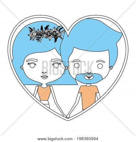 color sections silhouette heart shape portrait with caricature couple and her with short hair and floral crown and him with van dyke beard vector illustration