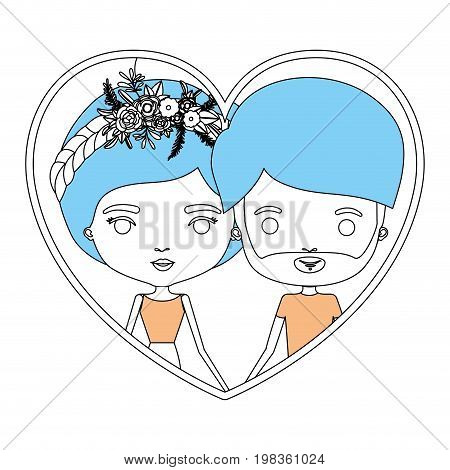color sections silhouette heart shape portrait with caricature couple and her with collected hair and floral crown and him with beard vector illustration