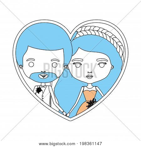 color sections silhouette heart shape portrait with caricature newly married couple groom with formal wear and bride with wavy long hairstyle vector illustration