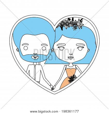 color sections silhouette heart shape portrait with caricature newly married couple groom with formal wear and bride with wavy short hairstyle vector illustration