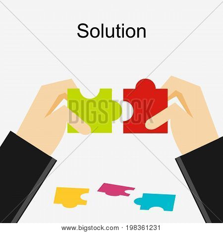 Create a solution illustration. Making a solution concept. Business people with puzzle pieces. Flat design illustration concepts for business career strategy, decision making.
