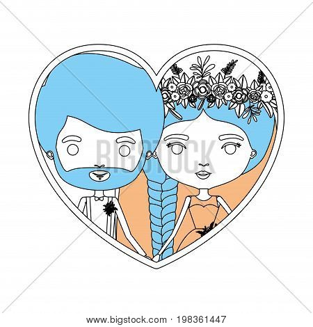color sections silhouette heart shape portrait with caricature newly married couple groom with formal wear and bride with braids hairstyle vector illustration
