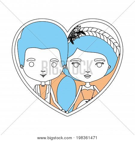 color sections silhouette heart shape portrait with caricature newly married couple groom with formal wear and bride with ponytail side long hairstyle vector illustration