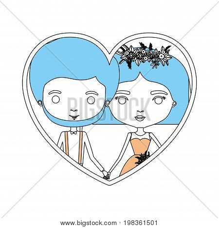 color sections silhouette heart shape portrait with caricature newly married couple groom with formal wear and bride with straight short hairstyle vector illustration