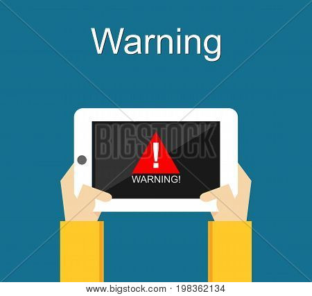 Warning notification on mobile phone. Warning sign. Caution pop up notification. Unsecure warning