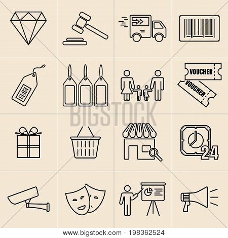 Business exhibition exposition thin line icons set