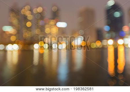 Night blurred bokeh light city building abstract background