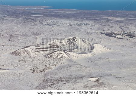 Top view Iceland mountain winter seasion nautral landscape background