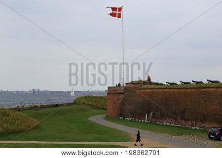 HELSINGOR, DENMARK - JUNE 30, 2016: This is old artillery bastion of the Kronborg Castle which guarded the Kattegat Strait.