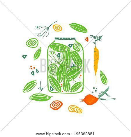 Pickled cucumbers. Seamless pattern with carrot, onion, garlic and dill.