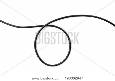 black wire power cable isolate on white background