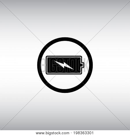 Battery flat vector sign. Black battery isolated vector icon. Energy level round button illustration.