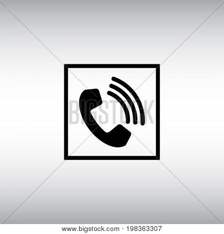 Call flat vector icon. Call isolated vector sign. Incoming call round button illustration.