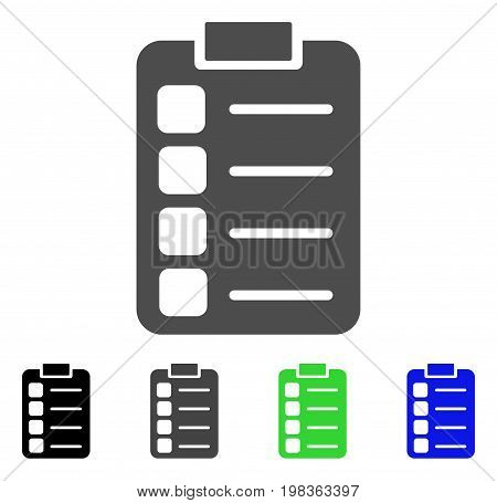 Tasks flat vector pictogram. Colored tasks, gray, black, blue, green icon variants. Flat icon style for web design.
