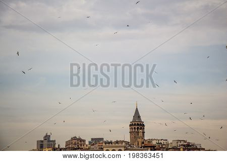 Galata Tower From Byzantium Times In Istanbul